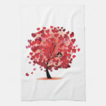 Red Hearts Tree Kitchen Towel
