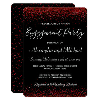 Red Hearts Valentine's Day Engagement Party Invitation