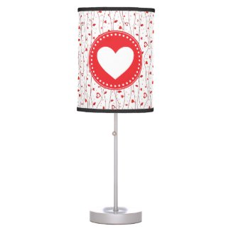 Red hearts vines table lamp