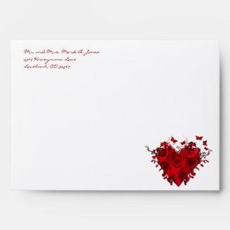 Red Hearts Wedding Envelopes