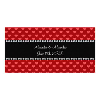 Red hearts wedding favors photo card