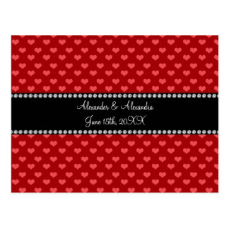 Red hearts wedding favors postcard