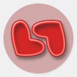 Red Hearts Wedding Seals Round Stickers