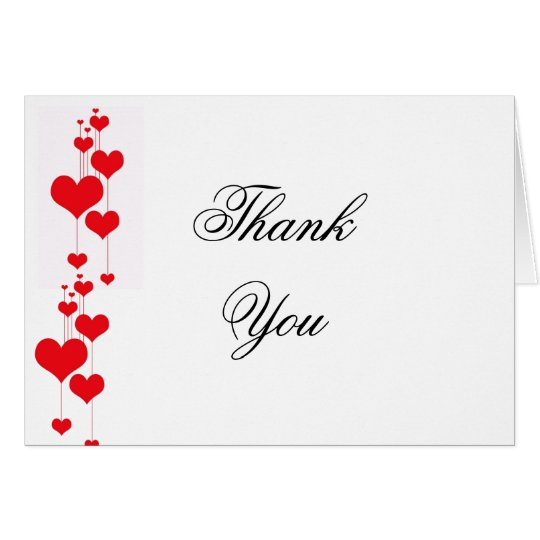 Red Hearts Wedding Thank You Notes