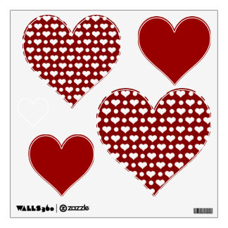 Red Hearts White Hearts Valentines Day Wall Decal