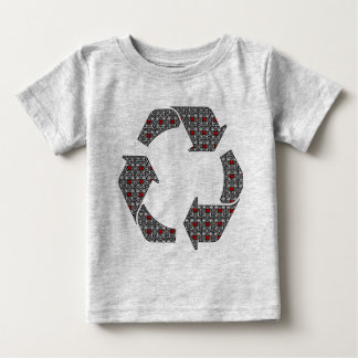 Red Hearts with Black and White Stars Baby T-Shirt