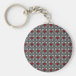 Red Hearts with Black and White Stars Basic Round Button Keychain