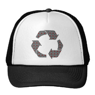 Red Hearts with Black and White Stars Trucker Hat
