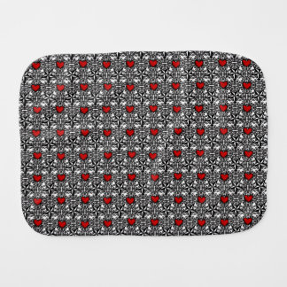 Red Hearts with Black and White Stars Baby Burp Cloths