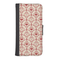 Red Hearts with Keys Damask Style Pattern Phone Wallet