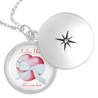 red hearts with white ribbon bow original design silver plated necklace