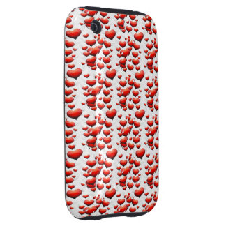 Red Hearts with Wings iPhone 3 Tough Cases