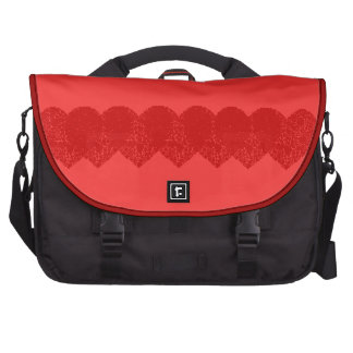 Red Hearts Within Hearts Laptop Messenger Bag