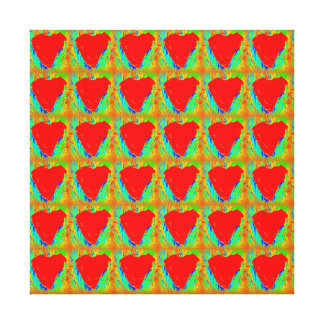 red hearts wrapped canvas