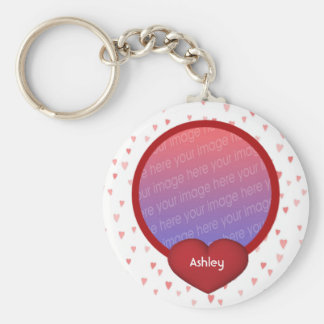 Red Hearts Your Photo Keychain