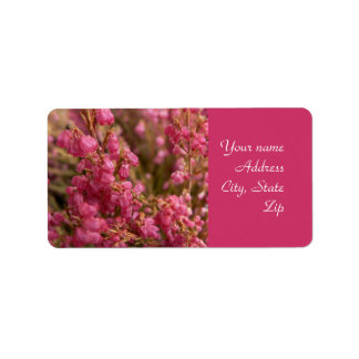 Red Heather flowers Label