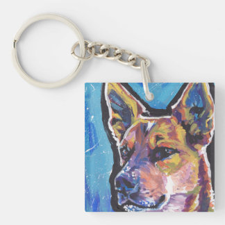Red Heeler Australian Cattle Dog Pop Art Double-Sided Square Acrylic Keychain