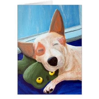 Red Heeler Cuddling Frog Painting Card