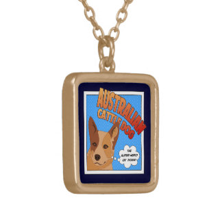 Red Heeler Super Hero Gold Plated Necklace