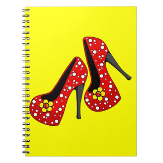 red_heels_6_pearls_and_flowers RED YELLOW FLOWER P Notebook