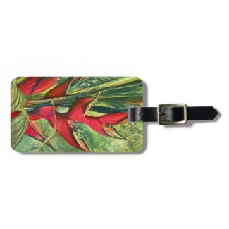 Red Heliconia Fine Art Luggage Tag