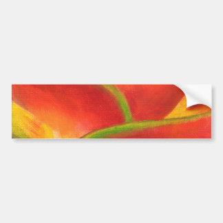 Red Heliconia Flower Art - Multi Car Bumper Sticker