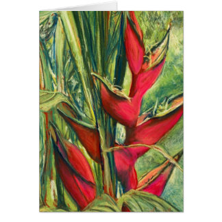 Red Heliconia Tropical Flower Pastel Painting Greeting Card