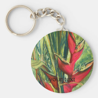 Red Heliconia Tropical Flower Pastel Painting Basic Round Button Keychain