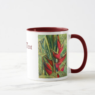 Red Heliconia Tropical Flower Pastel Painting Mug