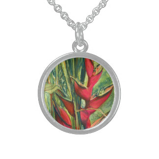 Red Heliconia Tropical Flower Pastel Painting Round Pendant Necklace