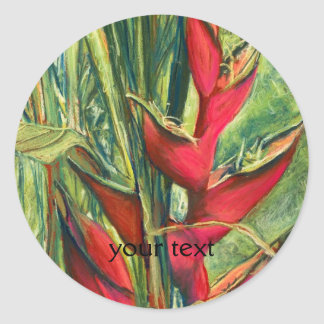 Red Heliconia Tropical Flower Pastel Painting Classic Round Sticker