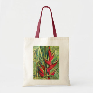 Red Heliconia Tropical Flower Pastel Painting Tote Bag