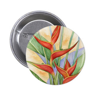 Red Heliconia Tropical Flowers Painting - Multi Button