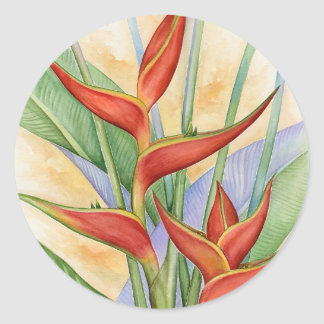 Red Heliconia Tropical Flowers Painting - Multi Classic Round Sticker
