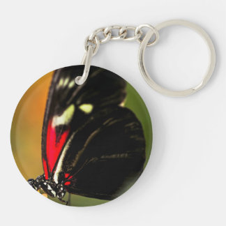 Red heliconius dora butterfly keychain