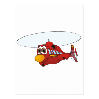 Red Helicopter Cartoon Postcard