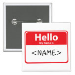 Red Hello My Name is , <NAME> Buttons