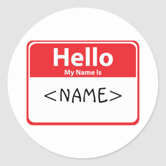 Red Hello My Name is , <NAME> Classic Round Sticker