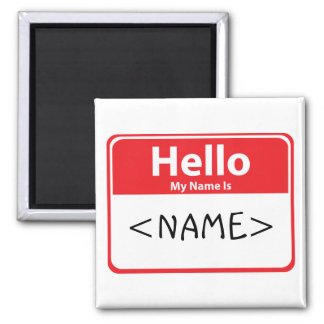 Red Hello My Name is , <NAME> Magnet