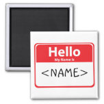 Red Hello My Name is , <NAME> Refrigerator Magnets