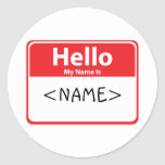 Red Hello My Name is , <NAME> Round Stickers