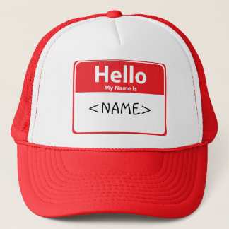 Red Hello My Name is , <NAME> Trucker Hat
