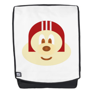 Red Helmet 鮑 鮑 Adult Backpack with White Bg