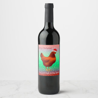 Red Hen in Santa Hat Merry Chickmas Wine Label