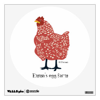 RED hen wall art - customize or remove text Wall Sticker