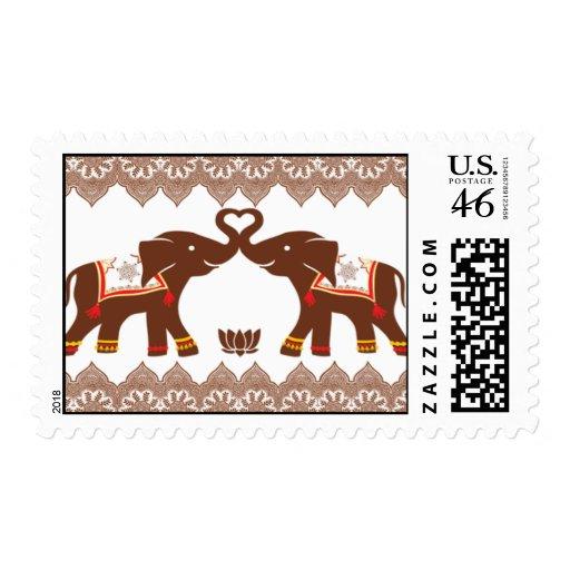 Red Henna Elephant Love Postage