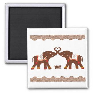 Red Henna Elephant Magnet
