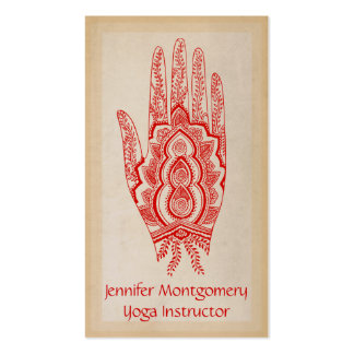 Red Henna Hand Yoga Instructor Business Card