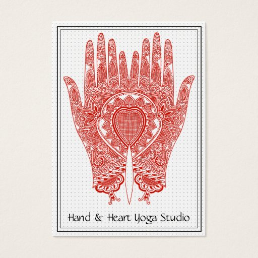 Red Henna Hands Yoga Studio Business Card