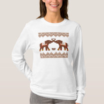 Red Henna Heart Elephants Shirt